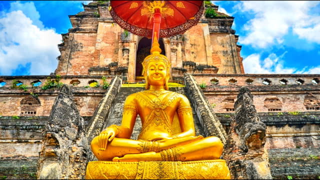 Time lapse beautiful sky Pagoda and buddha statue at Wat Chedi Luang temple in Chiang Mai Thailand video