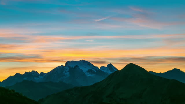 Time Lapse: Beautiful sunset of Cortina d'Ampezzo, an alpine valley in the Dolomites, Italy video