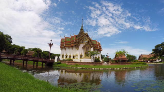 Time Lapse Beautiful Temple By River, Thailand video