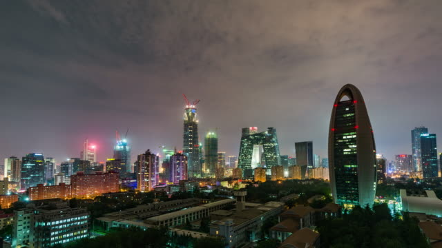 Time Lapse- Beijing CBD and CCTV Building, Night (Zoom) video