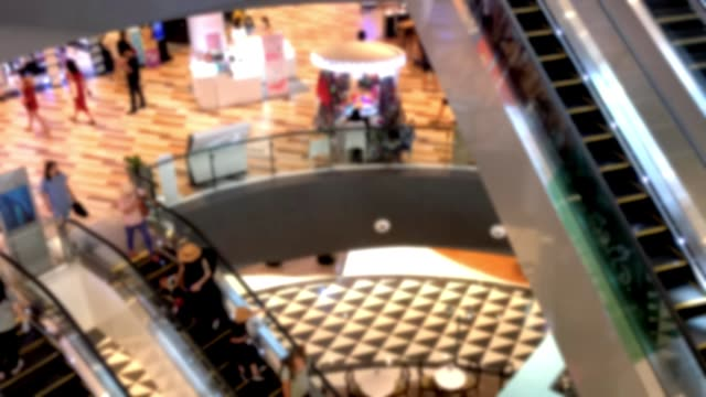 Time Lapse blur People on an escalator in a mall