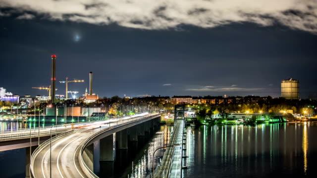 HD Time Lapse: Bridge at Night video