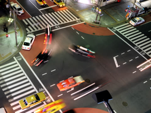 Time Lapse - Busy intersection at night from above video