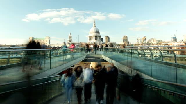 HD time lapse busy Millenium bridge London St Paul's Tate video