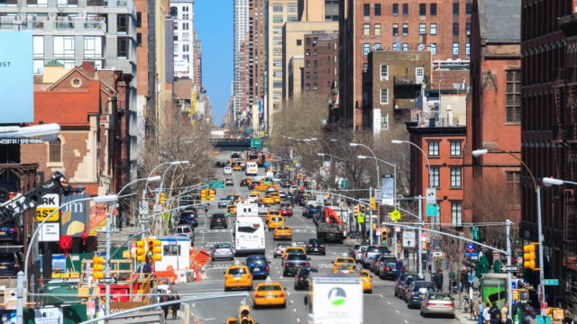 4K Time Lapse : busy traffic Manhattan street video