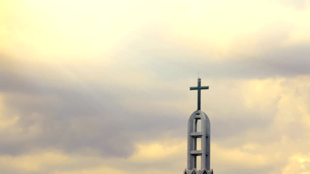 Time lapse: Calvary cross of christ and clouds sky