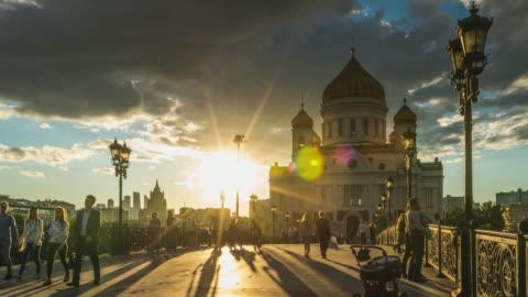 vídeos y material grabado en eventos de stock de lapso de tiempo k 4 - catedral de cristo salvador. famoso lugar de moscú. rusia. - rusia