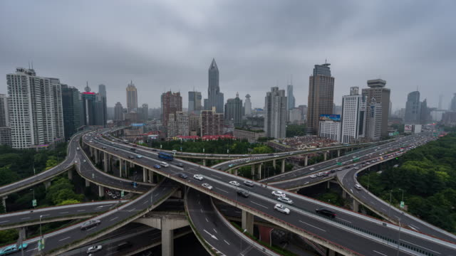 Time Lapse- China, Shanghai, Aerial View of Busy Intersection (WS) video
