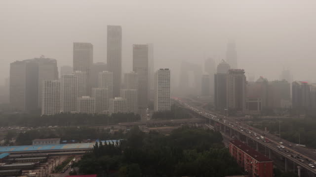 Time Lapse- City in Air Pollution, Beijing (Panning) video