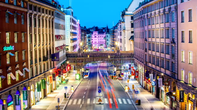 HD Time Lapse: City Street at Night HD Time Lapse of city street at night. Stockholm, Sweden stockholm stock videos & royalty-free footage
