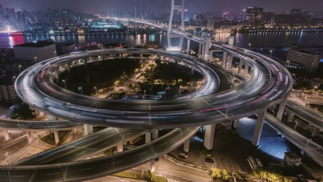 Time Lapse- City Traffic of Shanghai at Night (TU) City Traffic of Shanghai at Night cycle vehicle stock videos & royalty-free footage