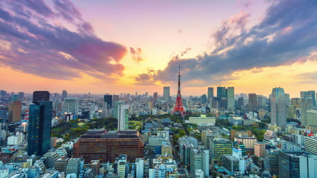 4k. time lapse cityscape at tokyo city with tokyo tower in japan - 4k stock videos & royalty-free footage