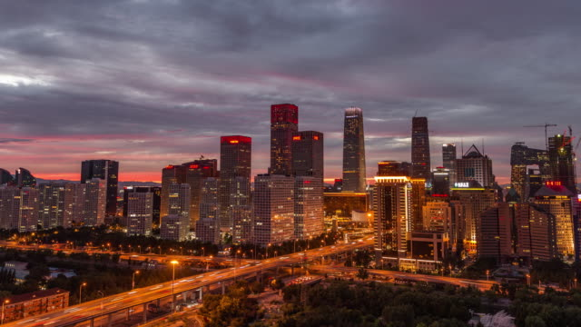 Time Lapse- Cityscape of Beijing, Day to Night Transition video