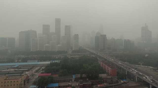 Time Lapse- Cityscape of Beijing in air pollution (LR Pan) video