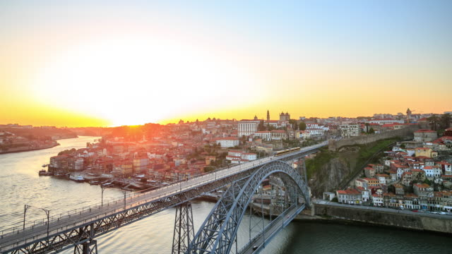 4K Time Lapse : Cityscape Porto sunset Dom Luiz bridge Porto Cityscape Portugal sunset. 4K 3840x2160 Format portugal stock videos & royalty-free footage