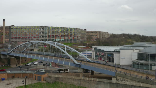 Time lapse, cityscape road and tramway bridge near Fitzalan Square - Ponds Forge Sheffield, South Yorkshire, United Kingdom video