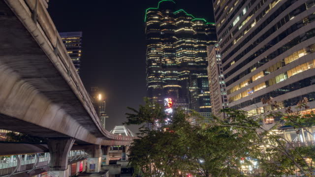 Time Lapse, Cityscape with Nightlight at downtown Bangkok. 4K, Time Lapse, Day to Night Cityscape with traffic of Night light over Chong non tri intersection, downtown Bangkok, Thailand sunset to night time lapse stock videos & royalty-free footage