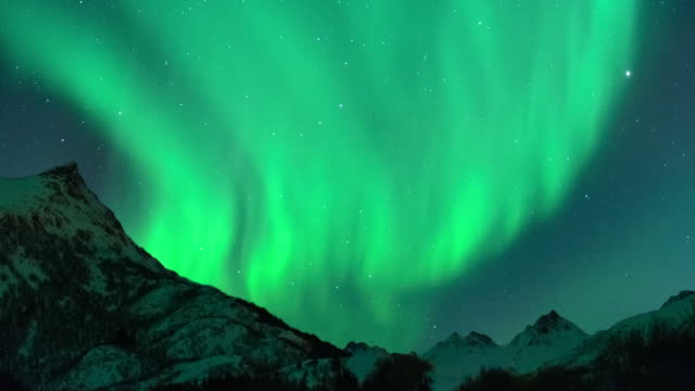 time lapse clip of polar light or northern light (aurora borealis) in the night sky over the lofoten - aurora boreale video stock e b–roll