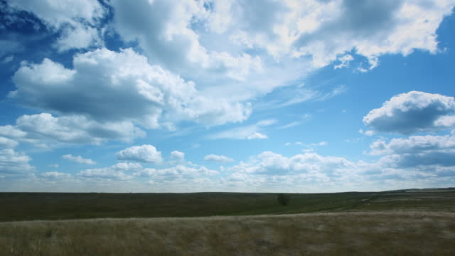Time lapse clouds animation. Slow left panning video