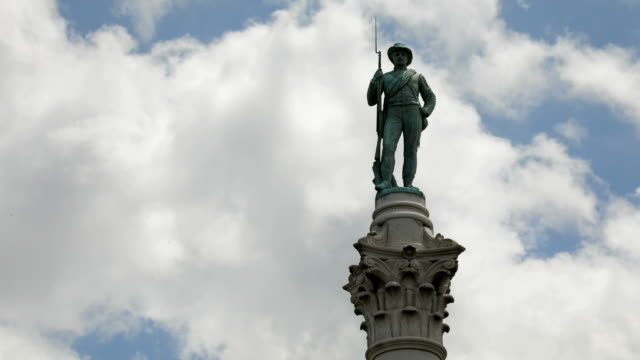 Time Lapse Clouds Behind Statue of Soldier Time lapse of blue sky with white puffy clouds moving behind the Civil War statue standing on the top of an ornate column. statue stock videos & royalty-free footage