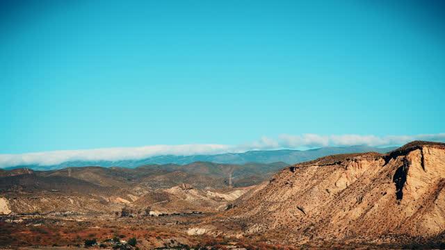 Time lapse. Clouds over Tabernas desert landscape, Spain video