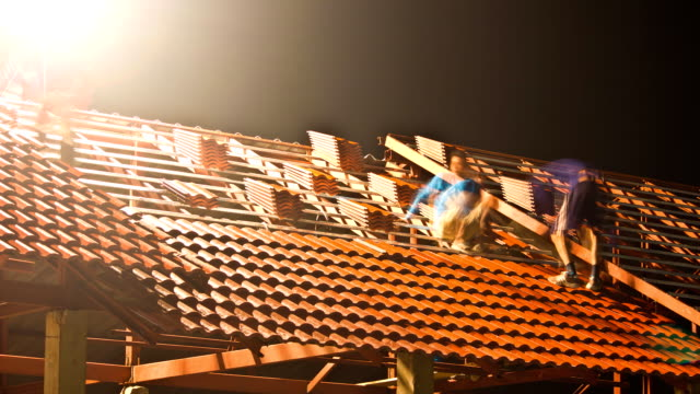 Time Lapse Construction of the roof at night. video