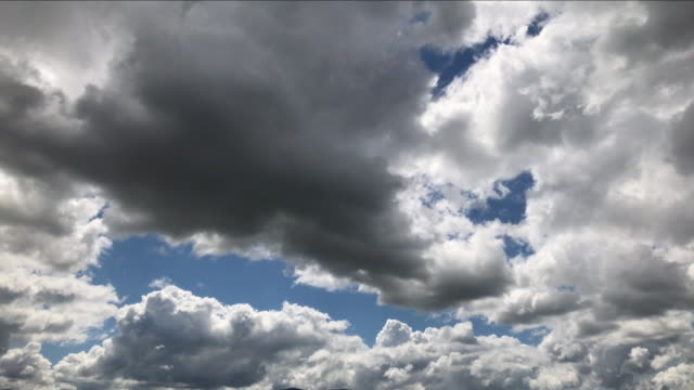 Time lapse contrasty footage clouds running across sky rapidly on sunny day