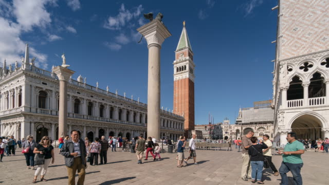 Time Lapse Crowd of people at Venice, St. Marks square, Campanile, Venice, Italy video