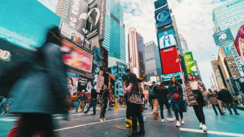 Time lapse crowd of tourist walking at Times Square Crowd of Pedestrian and tourist walking at Times Square, Manhattan, New York City, United States advertisement stock videos & royalty-free footage
