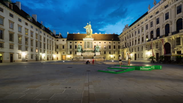 Time Lapse, Crowd waking at Hofburg Palace, Vienna 4k Time Lapse of Crowd waking at Hofburg Palace at dusk, Vienna, Austria neoclassical architecture stock videos & royalty-free footage