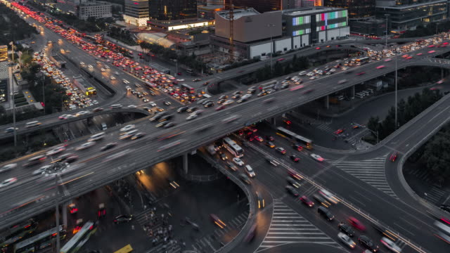 Time Lapse- Crowded Traffic in Beijing at Dusk (Zoom) video