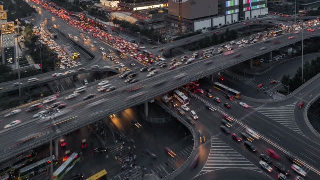 Time Lapse- Crowded Traffic in Beijing at Dusk video