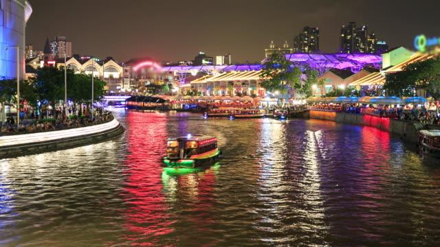 vídeos y material grabado en eventos de stock de 4 k time lapse: crown clake quay singapur - bahía