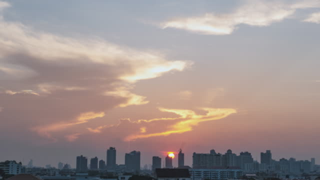 Time Lapse D2N Cityscape with dramatic sky at downtown Bangkok 4K Aerial view Time Lapse Day to Night Cityscape with dramatic sky over Chong non tri intersection, downtown Bangkok, Thailand sunset to night time lapse stock videos & royalty-free footage