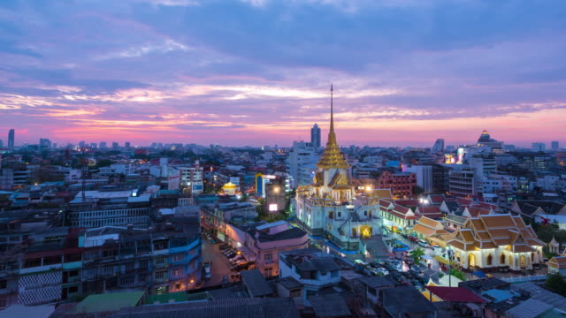 Time Lapse : Day to night of Wat Traimit Witthayaram Worawihan attractive temple for tourism. Temple of the Golden Buddha in Bangkok, Thailand video
