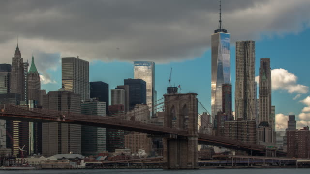 Time lapse daytime shot of lower Manhattan and Brooklyn bridge, New York, USA video
