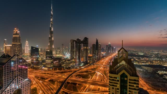 Time Lapse Dubai Skyline at sunset / Dubai, UAE