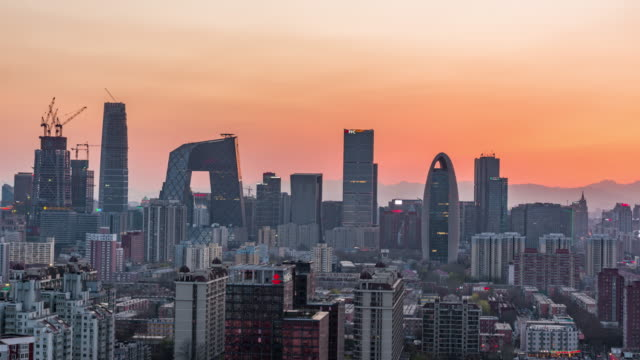 Time Lapse- Elevated View of Beijing Skyline, Day to Night Transition video
