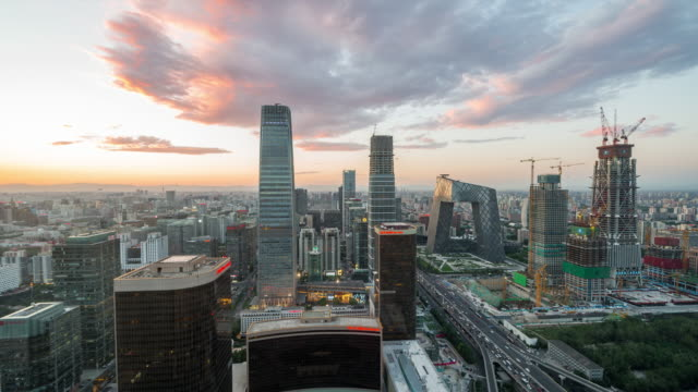 Time Lapse- Elevated View of Beijing Skyline (WS HA Zoom out) video
