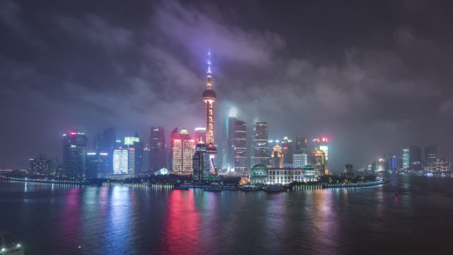 Time Lapse- Elevated View Of Shanghai Skyline at Night video