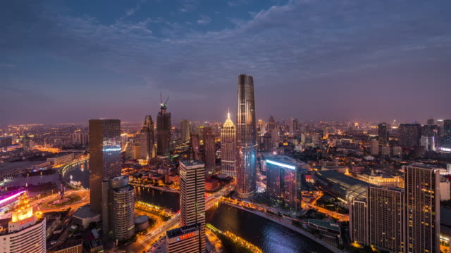 Time Lapse- Elevated View of Tianjin Skyline at Dawn, Night to Day video