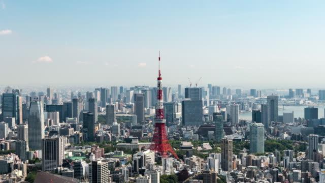 タイムラプス - 東京スカイラインの高い眺め - 東京タワー点の映像素材/bロール