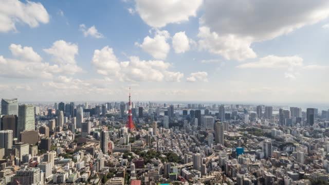 タイムラプス-上昇の東京の街並み(ズームイン) - 東京点の映像素材/bロール