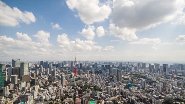 замедленная съемка-изысканный вид на горизонт токио - время дня стоковые видео и кадры b-roll