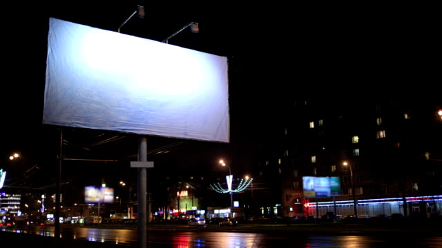 Time lapse empty billboard, by night video