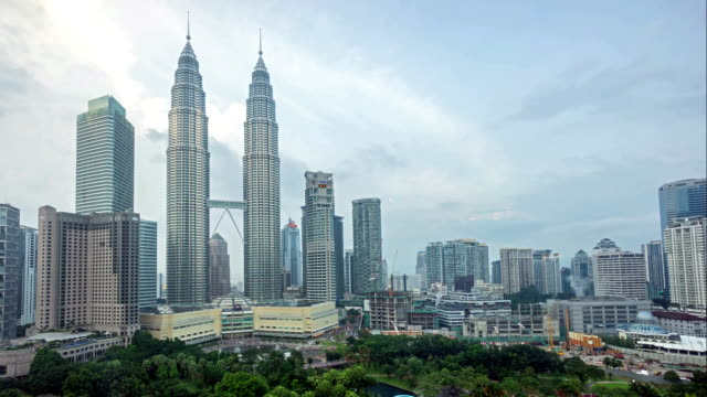 HD time lapse footage of cloudy hazy day at Kuala Lumpur City Centre video