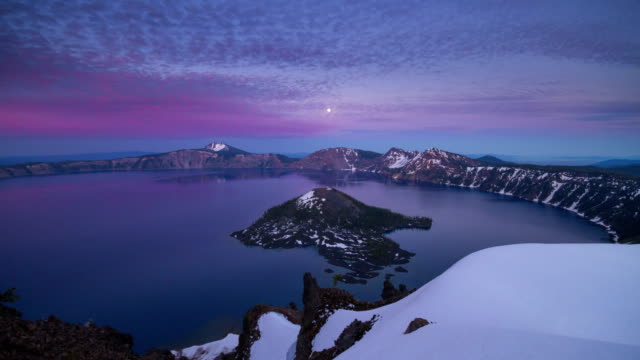 Time lapse footage of Crater Lake moving clouds and moon rise video