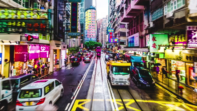 Time lapse from 2nd floor of Hong Kong tram video