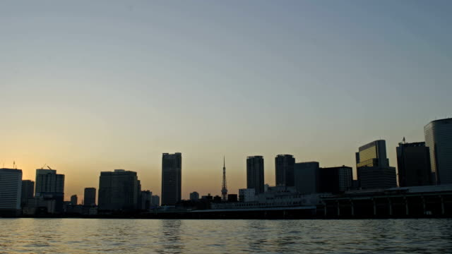 Time Lapse from Tokyo City,Sumida River and Tokyotower Time lapse from Tokyo City,Sumida river and Tokyo Tower,city landscape,in Japan. sunset to night time lapse stock videos & royalty-free footage