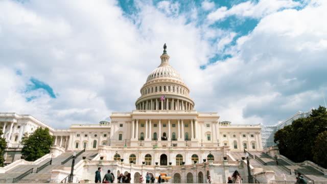 amerika birleşik devletleri capitol binası'nın zaman atlamalı ön, capitol hill, washington, d.c., abd - kubbe stok videoları ve detay görüntü çekimi